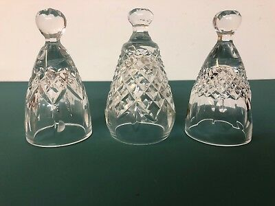 Waterford Crystal Bells 3 Pieces. Made In Ireland