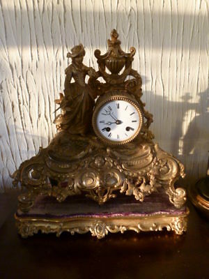 Superb French 8 day striking mantel clock on original stand