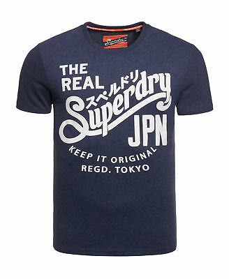 New Mens Superdry Keep It Tin Tab T-Shirt Princeton Blue Marl