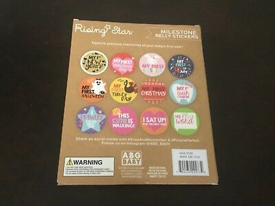New Rising Star Milestone Photo Prop Belly Stickers Set, Baby Girl, Age 0-12M