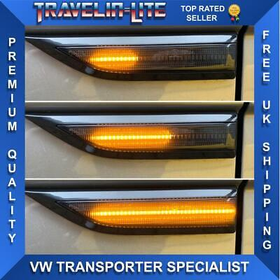 VW T6 Transporter Dynamic Flowing LED Side Repeaters Smoked Great Quality 15 On