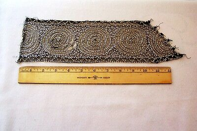 Vtg Antique Edwardian wide  Glass Beaded Lace Trim   Doll Crafts Millinery