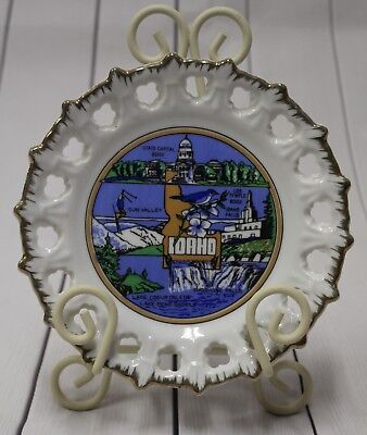 "Vtg 3567 IAAC Ceramic Wall Plate 7.5"" Idaho State Korea Made Souvenir Decorative"