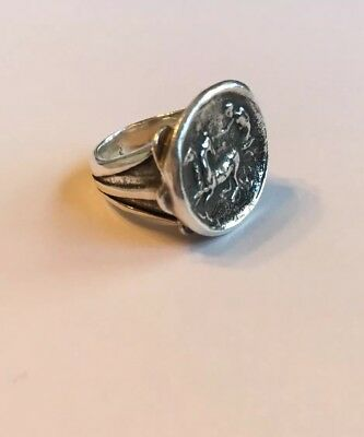 Roman Coin Style Horse Carriage Signet Ring Sterling Silver ~ Solid Piece