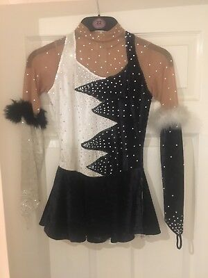 Black and White Figure Skating Competition Dress Suitable for age 11-13 years