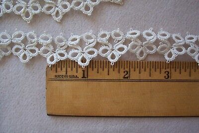 Vtg Elegant Antique Cotton Hand Tatted Lace Trim 1 Yard 6 inches