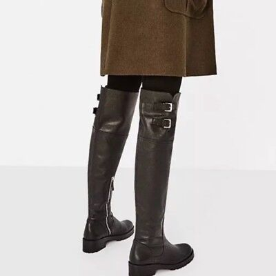 fff5a725b61 Nwt Zara  179 100% Cow Leather Over The Knee Flat Boots Zip   Buckles 6014