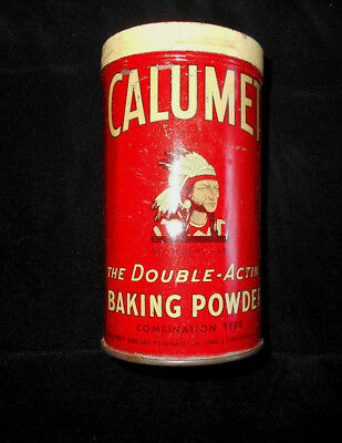 ANTIQUE EARLY 1 Pound CALUMET BAKING POWDER TIN  Chief in Head Dress Logo