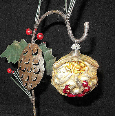 Antique Embossed Hand Painted German Mercury Glass Christmas Ornament