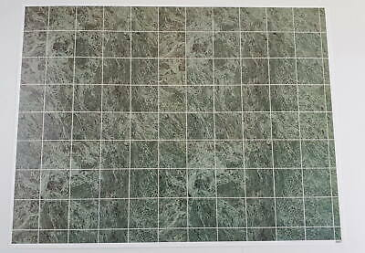 Dollhouse Miniature Green Marble Square Tile Flooring Textured Glossy Paper 1:12