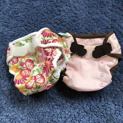 Lot Of 2 Baby Girl Cloth Diaper Covers Aplix GUC NB Blueberry WeeHuggers