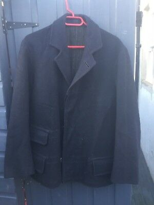 Navy vintage 30s Wool Browns Beach lined chore work pea coat jacket British WWII