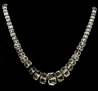 Fantastic Vintage Sparkling Clear Crystal Glass beaded Choker Necklace