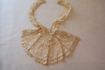 Vtg Antique Victorian Lace Dickie Collar Cut Glass Buttons DOLLS/REPURPOSE