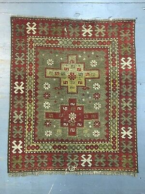 ca.1900 Old Antique Caucasian Small Rug Mat 3.3x2.8 Ft Shabby Chic