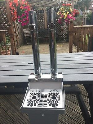Extra Cold Twin Chrome Bar Pub Beer Pump  / Man Cave  Very Good Condition