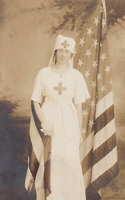 Vintage RPPC Photo Postcard Red Cross Nurse with American Flag