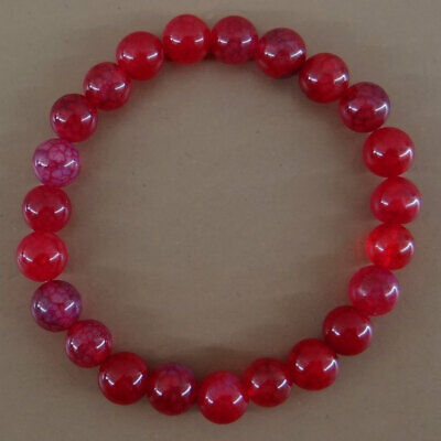 Bracelet en pierres naturelles perles agate veine de dragon rouge de 8 mm