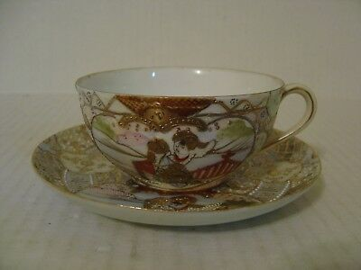 Vintage Beautiful Royal Satsuma Raised Gold Cup And Saucer Signed