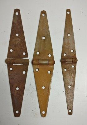 "Vintage 12"" Strap Hinges-Old Rusty Barn/door/gate Hardware Lot Of 3"