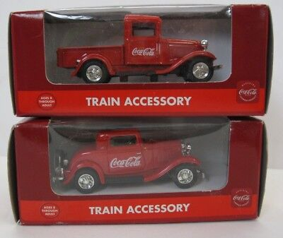 Lot of 2 Coca-Cola Brand Train Accessory 1930's Pick-up Truck + Car 1st + 2nd