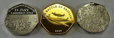 3 WW2 Commemorative Coins D-Day, VE DAY & Battle of Britain, 50p Collectors Gold