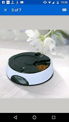 Automatic 6 Day Meal Pet Dog Cat Feeder Food Bowl Auto Holiday Dispenser - used