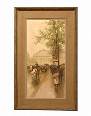 Paris Street Scene Vertical Estate Oil Painting by American artist Andre Gisson