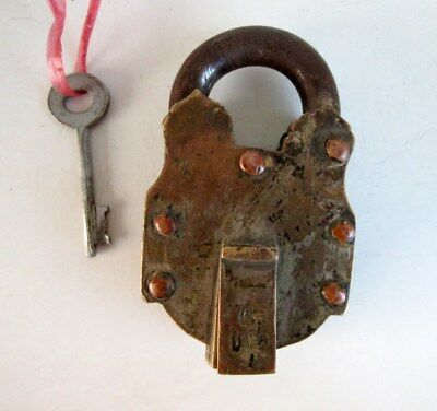 Antique Old Rare Brass 3 Step System Tricky Puzzle Padlock With Key Rich Patina
