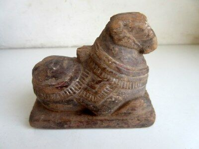 Antique Old Rare Wooden Hand Carved Hindu God Shiv Idol Nandi Figurine Statue