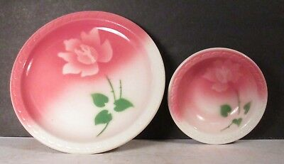 Vintage Air Brush Syracuse Restaurant China Plate And Bowl Pink Green Floral