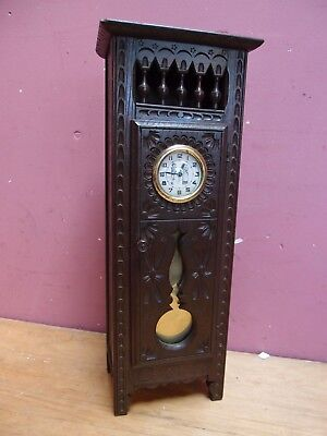 Vintage French Miniature Breton Carved & Decorated Longcase Clock Cupboard