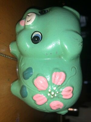 1970's Green With Pink Flower Piggy Bank
