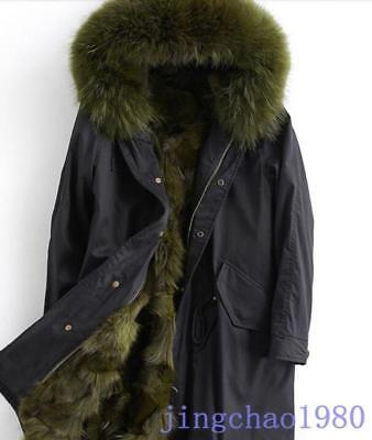 Mens Mink Fur Lined Parka Hooded Mid Long Thicken Warm Overcoats Jackets Chic YH