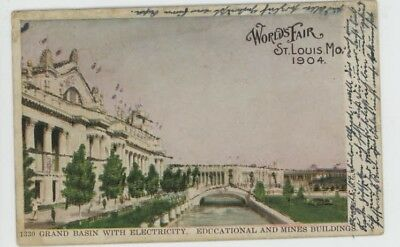 Mr Fancy Cancel Used St Louis Worlds Fair Grand Basin w Electricity 1904 #1240