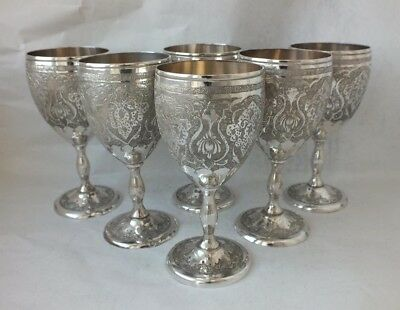 Pretty Engraved Set of 6 Persian Solid Silver Goblets/ H 10.8 cm/ 553 g