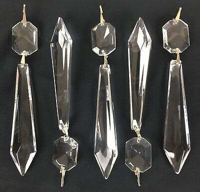 "5 Waterford Crystal Chandelier Replacement Part 5 1/4"" Button Drop Prism Droplet"