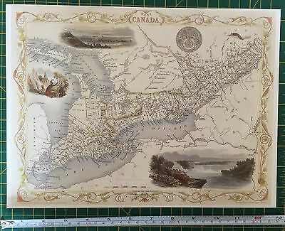 "Antique vintage colour map 1800s: West Canada: Tallis 13 X 9"" Reprint"