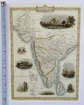 Antique vintage map 1800s: Southern India: Tallis 13 X 9 Reprint 1851c
