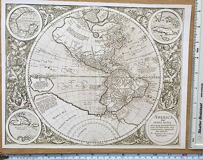 "Antique vintage old colour map Western Hemisphere 1500's, 1595: 12 X 9"" Reprint"