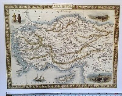 Antique vintage map 1800s: Asia Minor (Turkey): Tallis 13 X 9 Reprint 1851c