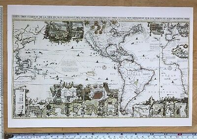 "Antique vintage old colour map America 1700's 1719: 13 X 7.5"" Reprint"