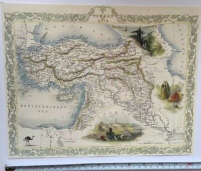 Antique vintage map 1800s: Turkey in Asia: Tallis 13 X 9 Reprint 1851c