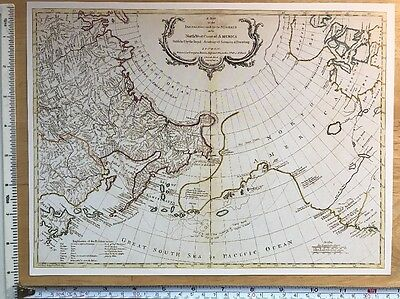 "Antique vintage old colour map Northwest Coast America 1700's: 12 X 9"" Reprint"