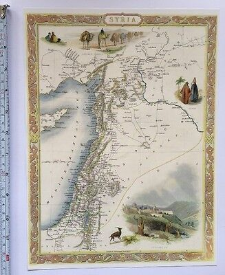 Antique vintage map 1800s: Syria: Tallis 13 X 9 Reprint 1851c