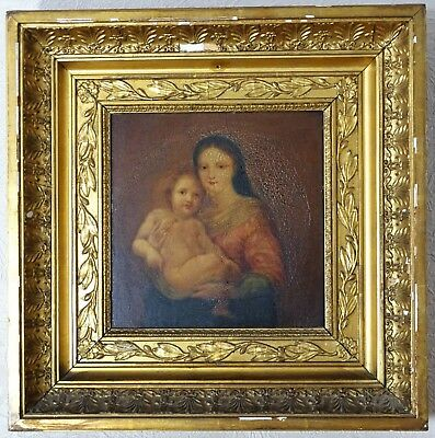 c 1700s Antique Master Painting Mary & Jesus after Raphael Madonna Christ Child