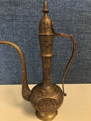 Antique Tea Pot Brass Copper Islamic Hand Made in India Flower Engraved Pitcher