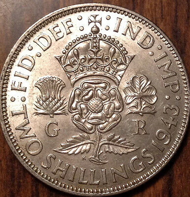 1943 Gb Uk Great Britain Florin .500 Silver Uncirculated