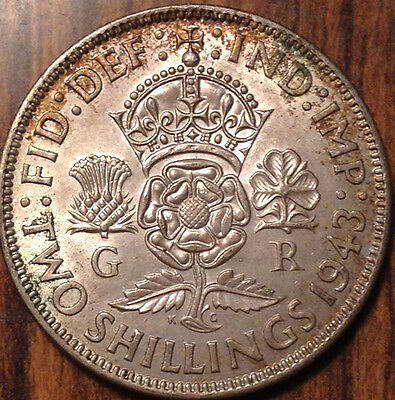 1943 Gb Uk Great Britain Florin .500 Silver Uncirculated Or Very Near To