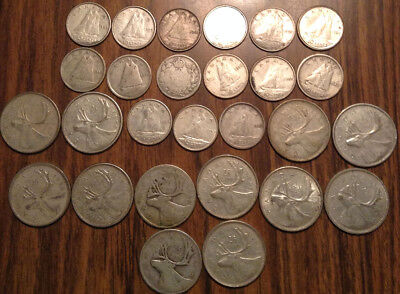 Big Lot Of Silver Canada 25 Cents And 10 Cents Quarters And Dimes 27 Coins Total